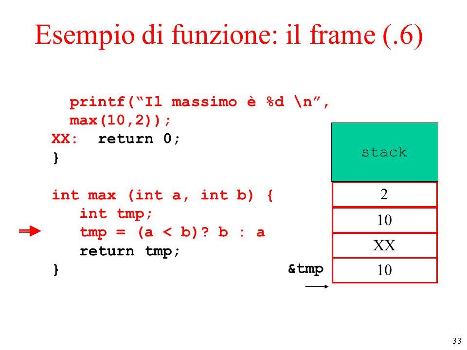 """33 Esempio di funzione: il frame (.6) printf(""""Il massimo è %d \n"""", max(10,2)); XX: return 0; } int max (int a, int b) { int tmp; tmp = (a < b)? b : a"""