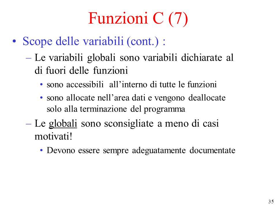 35 Funzioni C (7) Scope delle variabili (cont.) : –Le variabili globali sono variabili dichiarate al di fuori delle funzioni sono accessibili all'inte