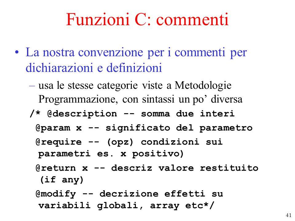 41 Funzioni C: commenti La nostra convenzione per i commenti per dichiarazioni e definizioni –usa le stesse categorie viste a Metodologie Programmazio