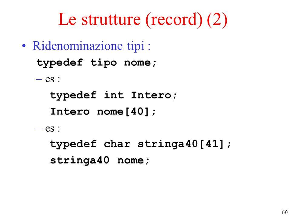 60 Le strutture (record) (2) Ridenominazione tipi : typedef tipo nome; –es : typedef int Intero; Intero nome[40]; –es : typedef char stringa40[41]; st