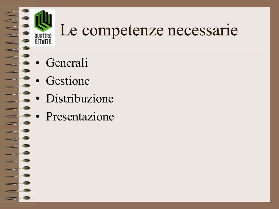 Le competenze necessarie Generali Gestione Distribuzione Presentazione