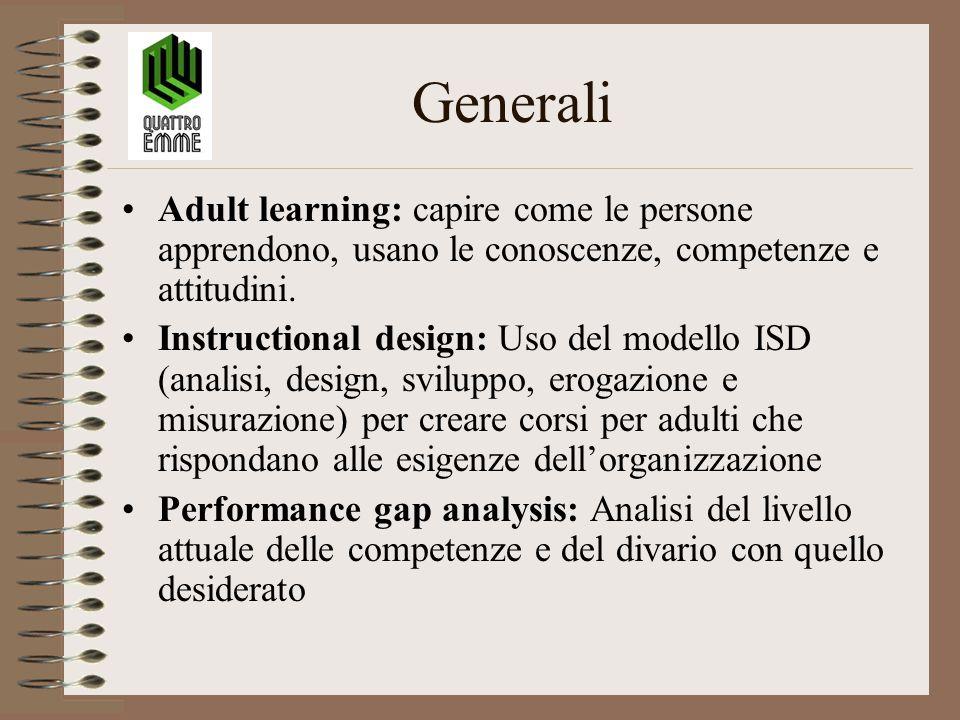 Generali Adult learning: capire come le persone apprendono, usano le conoscenze, competenze e attitudini. Instructional design: Uso del modello ISD (a