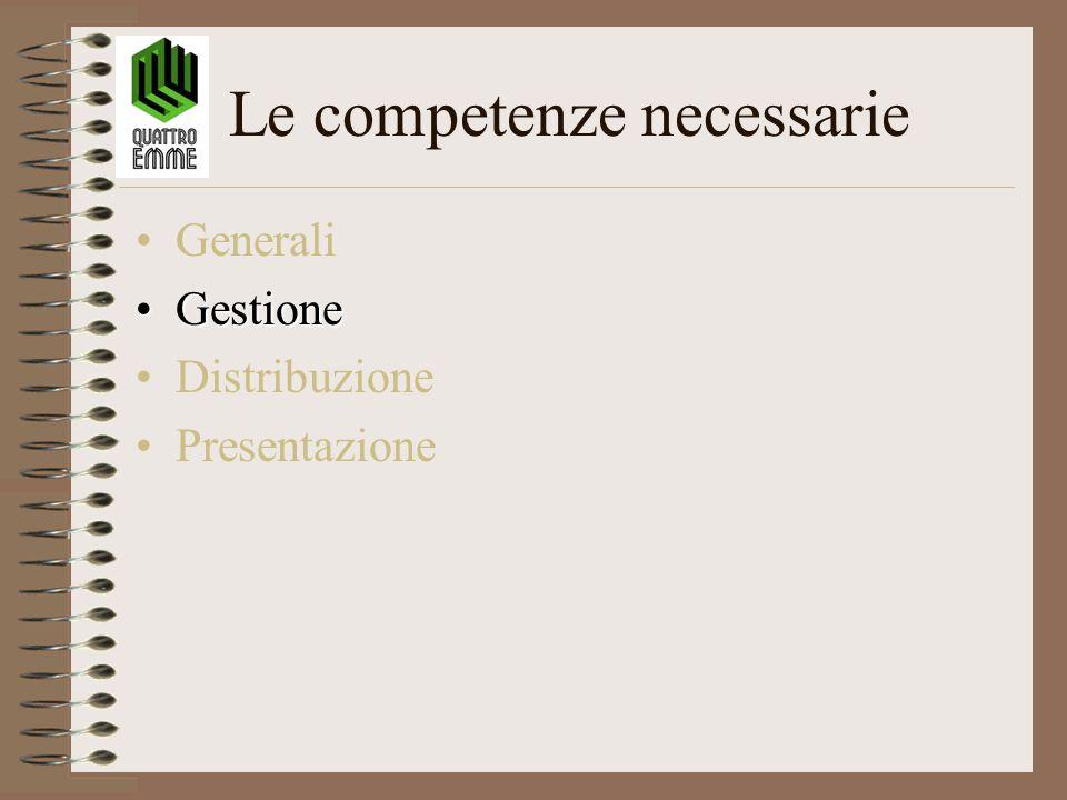 Le competenze necessarie Generali GestioneGestione Distribuzione Presentazione