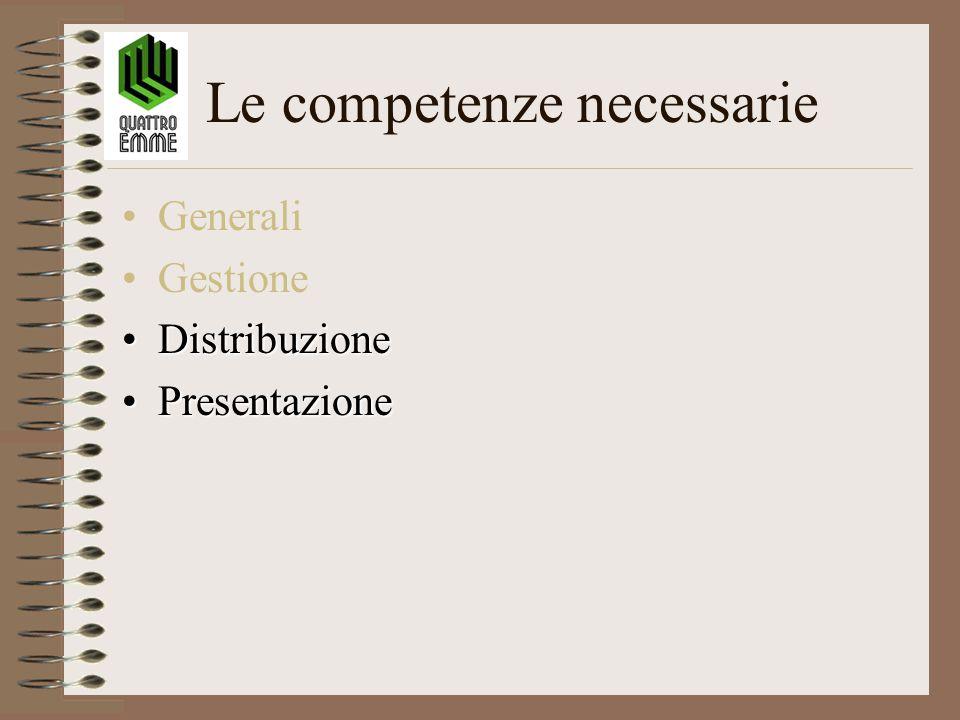 Le competenze necessarie Generali Gestione DistribuzioneDistribuzione PresentazionePresentazione
