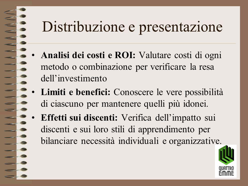 Distribuzione e presentazione Analisi dei costi e ROI: Valutare costi di ogni metodo o combinazione per verificare la resa dell'investimento Limiti e benefici: Conoscere le vere possibilità di ciascuno per mantenere quelli più idonei.