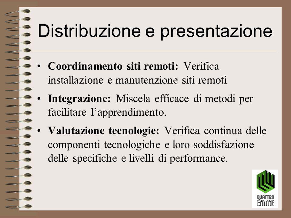 Distribuzione e presentazione Coordinamento siti remoti: Verifica installazione e manutenzione siti remoti Integrazione: Miscela efficace di metodi per facilitare l'apprendimento.