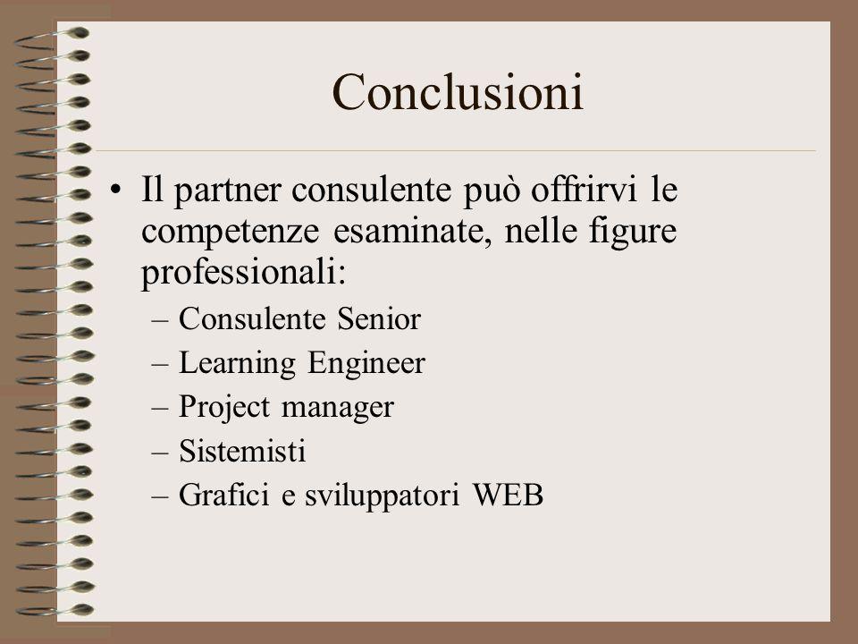 Conclusioni Il partner consulente può offrirvi le competenze esaminate, nelle figure professionali: –Consulente Senior –Learning Engineer –Project manager –Sistemisti –Grafici e sviluppatori WEB