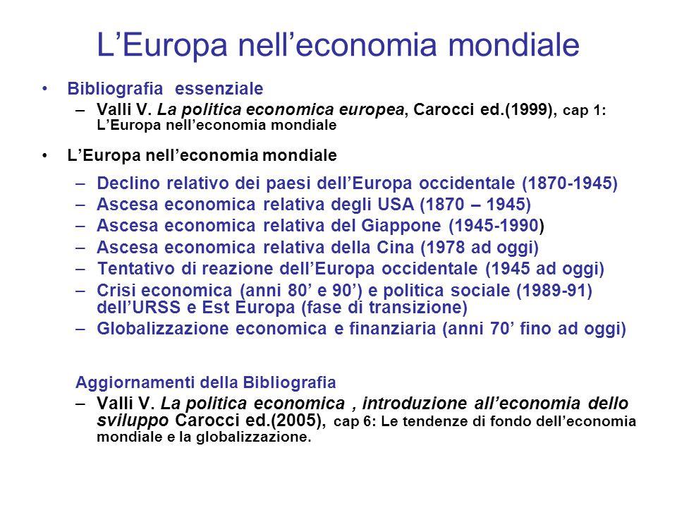L'Europa nell'economia mondiale Bibliografia essenziale –Valli V.