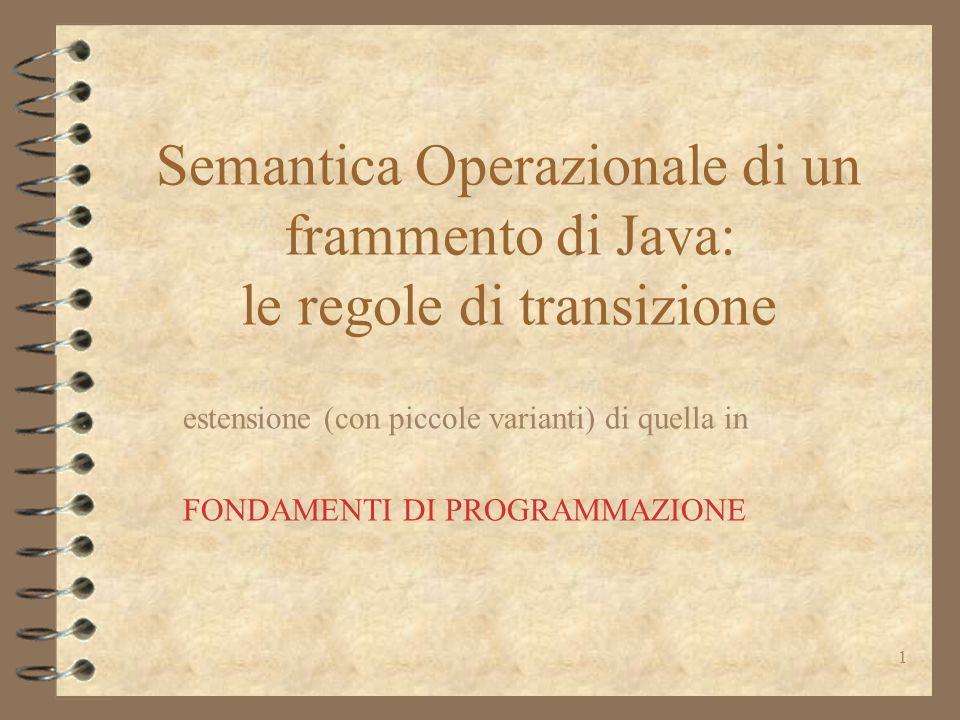 1 Semantica Operazionale di un frammento di Java: le regole di transizione estensione (con piccole varianti) di quella in FONDAMENTI DI PROGRAMMAZIONE
