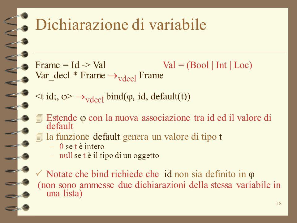 18 Dichiarazione di variabile Frame = Id -> Val Val = (Bool | Int | Loc) Var_decl * Frame  vdecl Frame  vdecl bind( , id, default(t))  Estende  con la nuova associazione tra id ed il valore di default 4 la funzione default genera un valore di tipo t –0 se t è intero –null se t è il tipo di un oggetto Notate che bind richiede che id non sia definito in  (non sono ammesse due dichiarazioni della stessa variabile in una lista)