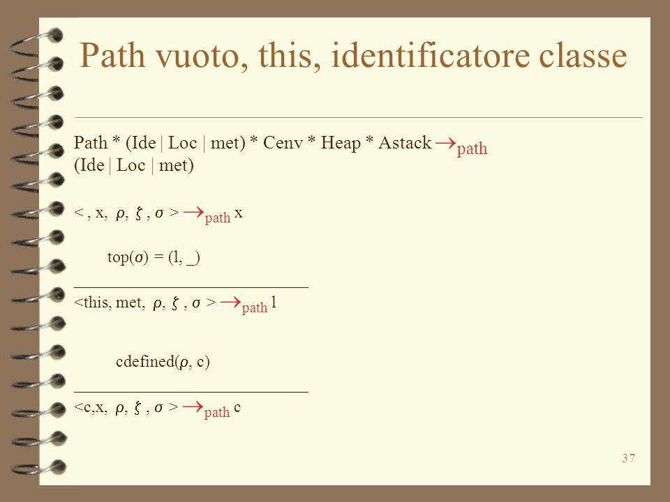 37 Path vuoto, this, identificatore classe Path * (Ide | Loc | met) * Cenv * Heap * Astack  path (Ide | Loc | met)  path x top(  ) = (l, _) ____________________________  path l cdefined( , c) ____________________________  path c
