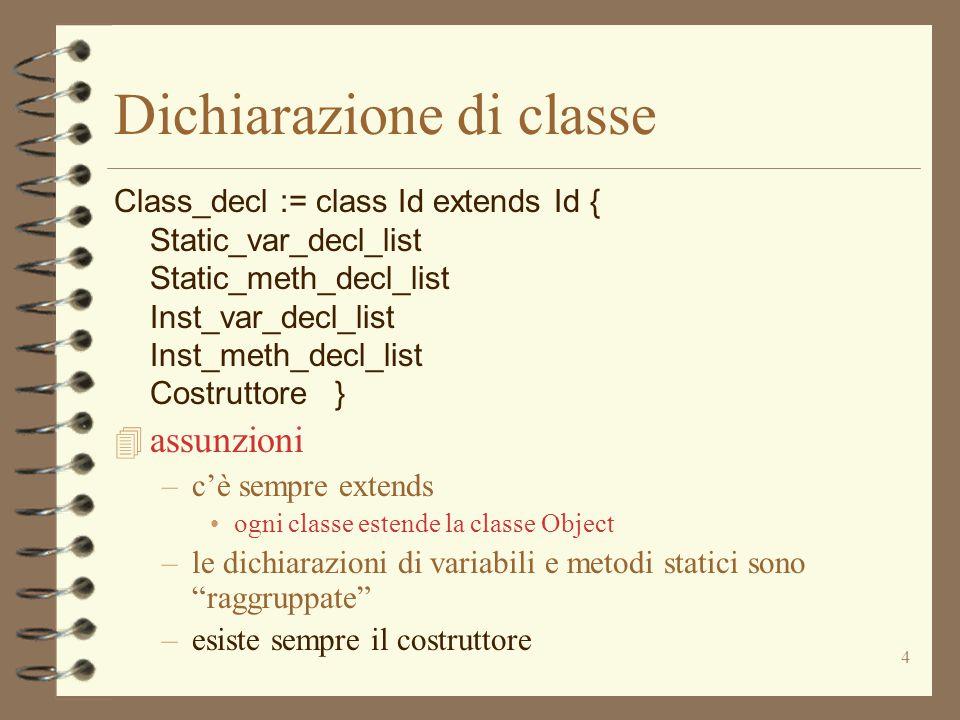 4 Dichiarazione di classe Class_decl := class Id extends Id { Static_var_decl_list Static_meth_decl_list Inst_var_decl_list Inst_meth_decl_list Costruttore } 4 assunzioni –c'è sempre extends ogni classe estende la classe Object –le dichiarazioni di variabili e metodi statici sono raggruppate –esiste sempre il costruttore