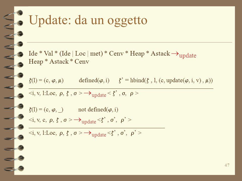 47 Update: da un oggetto Ide * Val * (Ide | Loc | met) * Cenv * Heap * Astack  update Heap * Astack * Cenv  (l) = (c, ,  ) defined( , i)  ' = hbind( , l, (c, update( , i, v),  )) _____________________________________________________________  update  (l) = (c, , _) not defined( , i)  update _____________________________________________  update