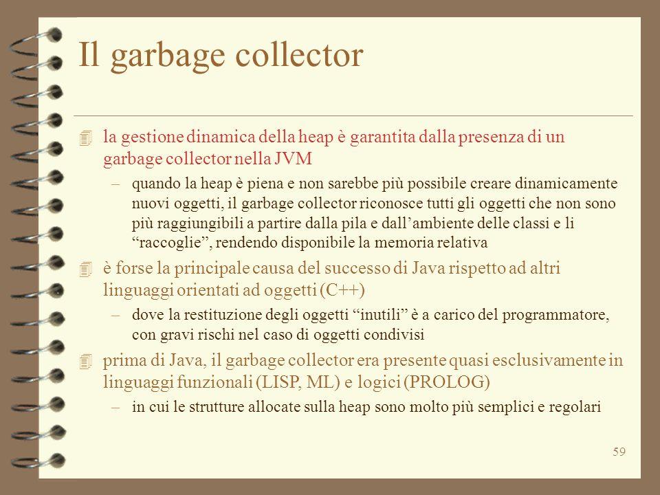 59 Il garbage collector 4 la gestione dinamica della heap è garantita dalla presenza di un garbage collector nella JVM –quando la heap è piena e non sarebbe più possibile creare dinamicamente nuovi oggetti, il garbage collector riconosce tutti gli oggetti che non sono più raggiungibili a partire dalla pila e dall'ambiente delle classi e li raccoglie , rendendo disponibile la memoria relativa 4 è forse la principale causa del successo di Java rispetto ad altri linguaggi orientati ad oggetti (C++) –dove la restituzione degli oggetti inutili è a carico del programmatore, con gravi rischi nel caso di oggetti condivisi 4 prima di Java, il garbage collector era presente quasi esclusivamente in linguaggi funzionali (LISP, ML) e logici (PROLOG) –in cui le strutture allocate sulla heap sono molto più semplici e regolari