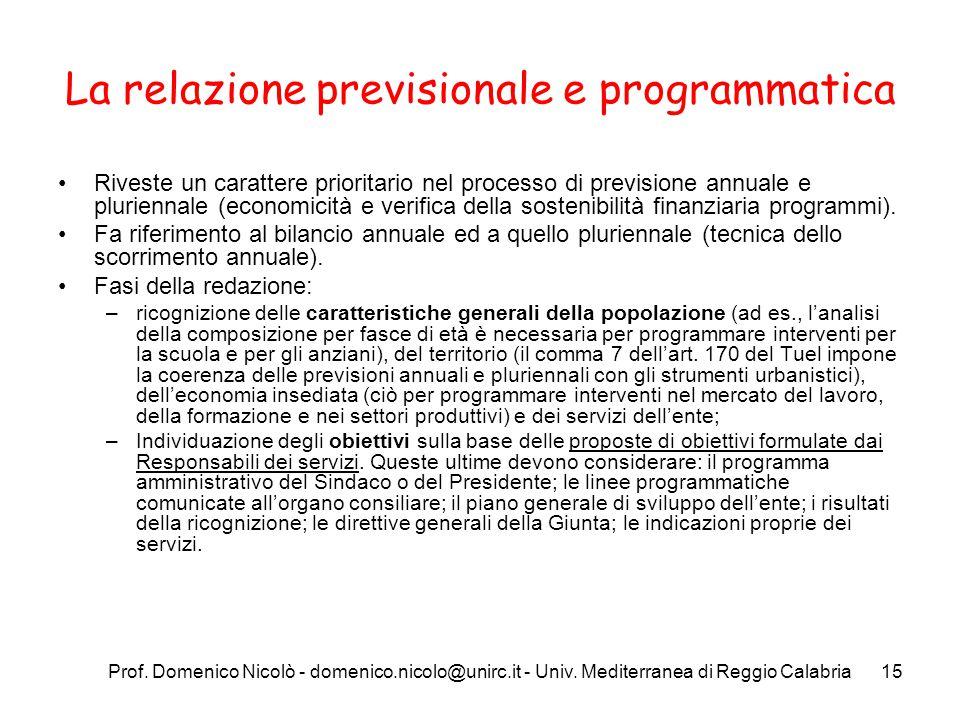 Prof. Domenico Nicolò - domenico.nicolo@unirc.it - Univ. Mediterranea di Reggio Calabria15 La relazione previsionale e programmatica Riveste un caratt