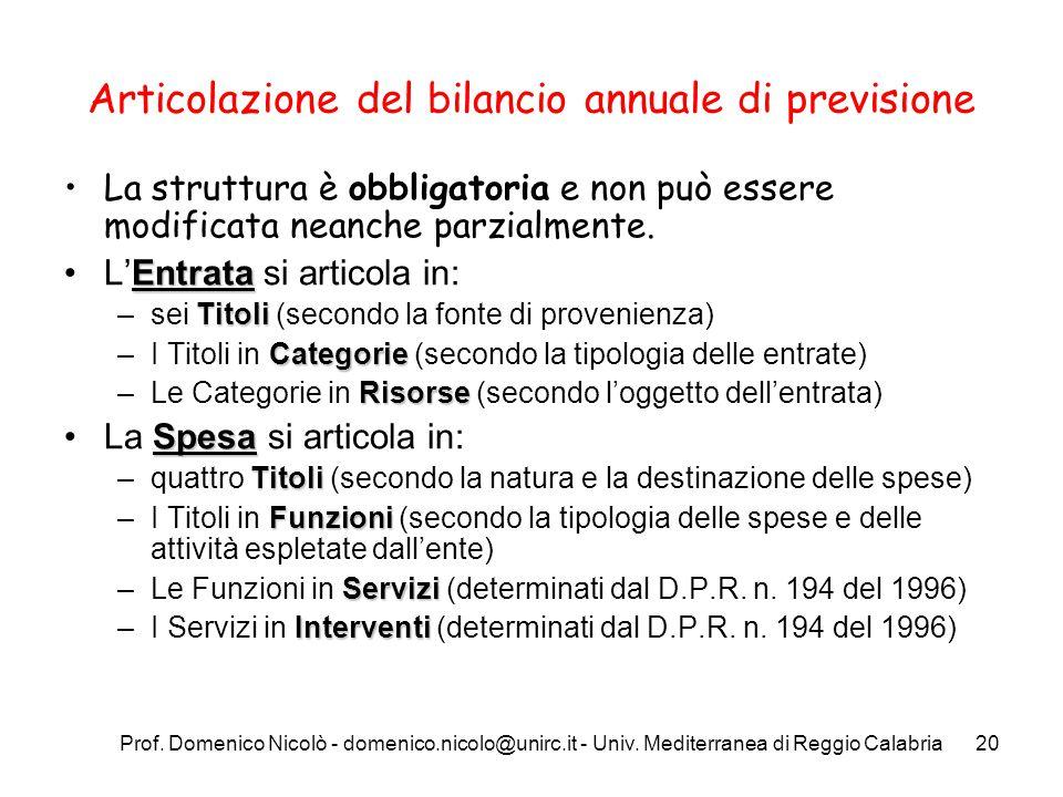 Prof. Domenico Nicolò - domenico.nicolo@unirc.it - Univ. Mediterranea di Reggio Calabria20 Articolazione del bilancio annuale di previsione La struttu