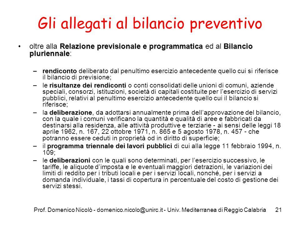 Prof. Domenico Nicolò - domenico.nicolo@unirc.it - Univ. Mediterranea di Reggio Calabria21 Gli allegati al bilancio preventivo Relazione previsionale