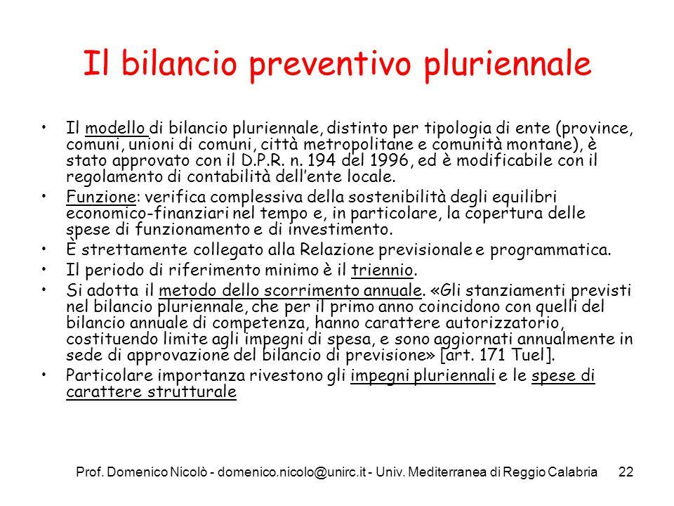 Prof. Domenico Nicolò - domenico.nicolo@unirc.it - Univ. Mediterranea di Reggio Calabria22 Il bilancio preventivo pluriennale Il modello di bilancio p