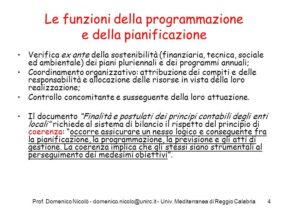 Prof. Domenico Nicolò - domenico.nicolo@unirc.it - Univ. Mediterranea di Reggio Calabria4 Le funzioni della programmazione e della pianificazione Veri