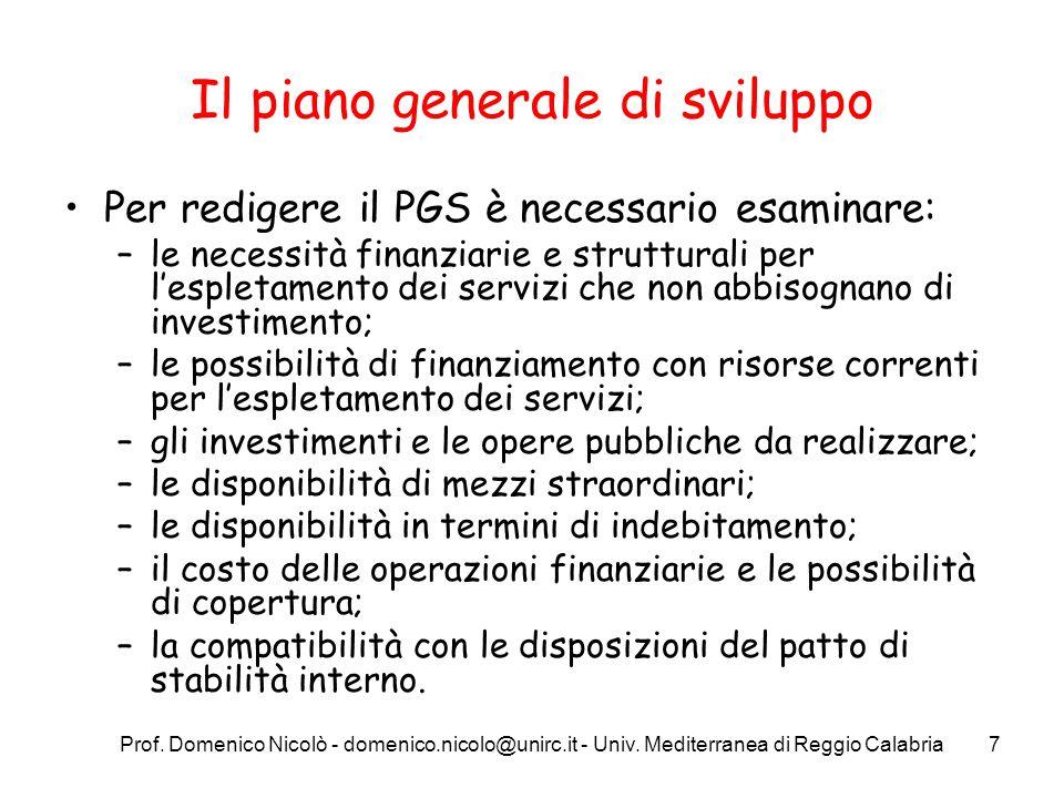 Prof. Domenico Nicolò - domenico.nicolo@unirc.it - Univ. Mediterranea di Reggio Calabria7 Il piano generale di sviluppo Per redigere il PGS è necessar