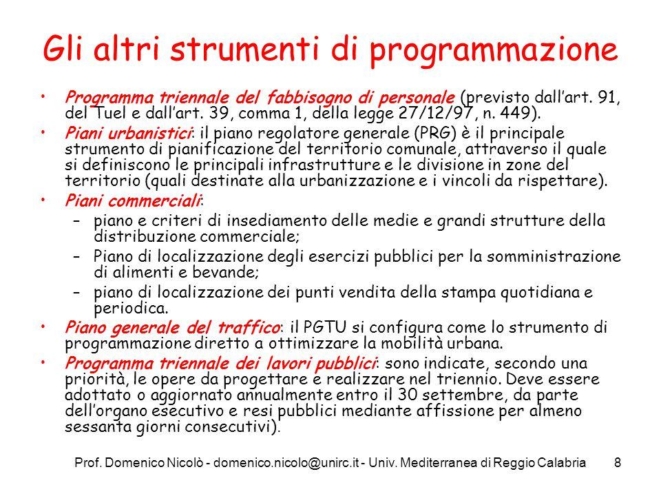 Prof. Domenico Nicolò - domenico.nicolo@unirc.it - Univ. Mediterranea di Reggio Calabria8 Gli altri strumenti di programmazione Programma triennale de