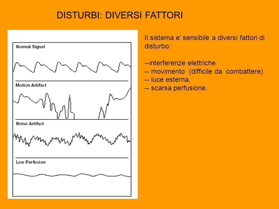 Il sistema e' sensibile a diversi fattori di disturbo: --interferenze elettriche -- movimento (difficile da combattere) -- luce esterna, -- scarsa perfusione.