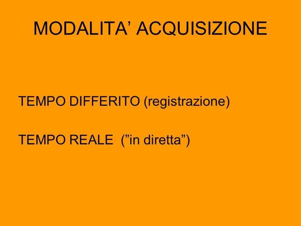 """MODALITA' ACQUISIZIONE TEMPO DIFFERITO (registrazione) TEMPO REALE (""""in diretta"""")"""