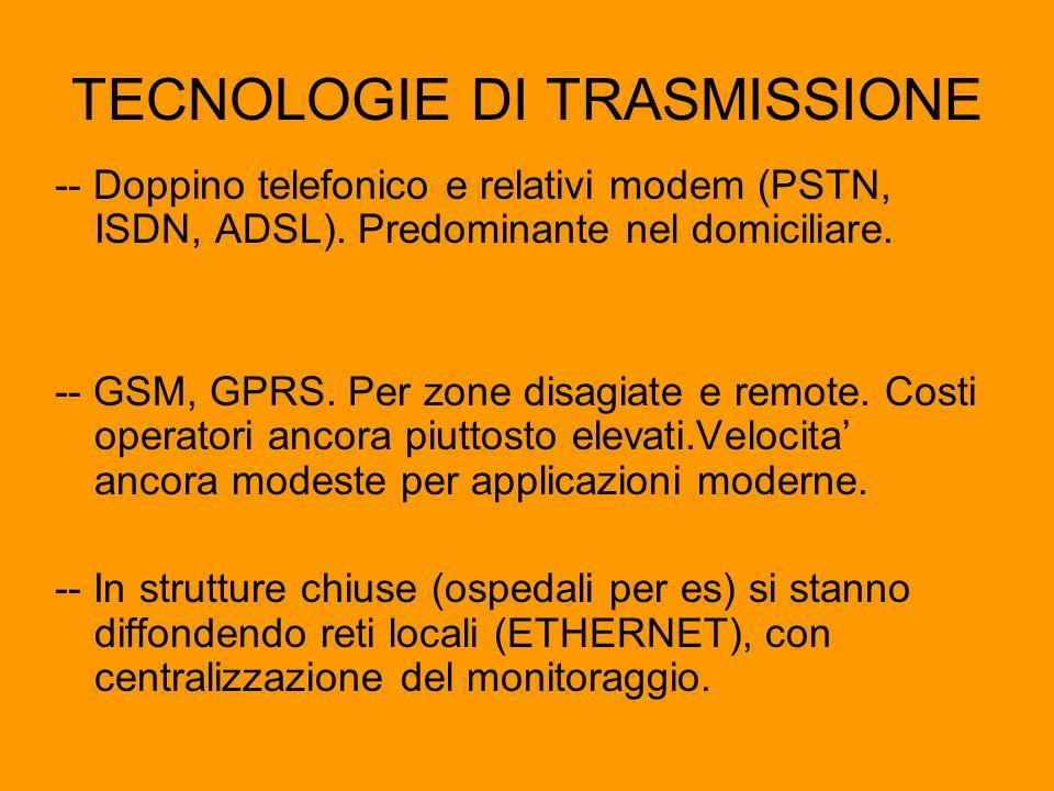 TECNOLOGIE DI TRASMISSIONE -- Doppino telefonico e relativi modem (PSTN, ISDN, ADSL). Predominante nel domiciliare. -- GSM, GPRS. Per zone disagiate e