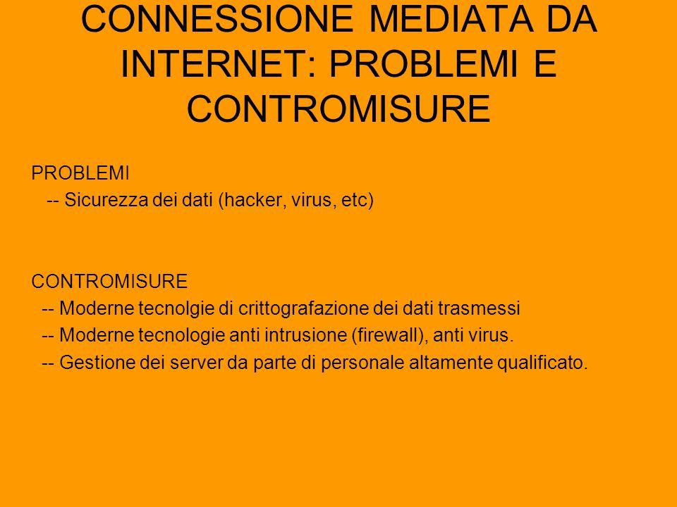 CONNESSIONE MEDIATA DA INTERNET: PROBLEMI E CONTROMISURE PROBLEMI -- Sicurezza dei dati (hacker, virus, etc) CONTROMISURE -- Moderne tecnolgie di crit