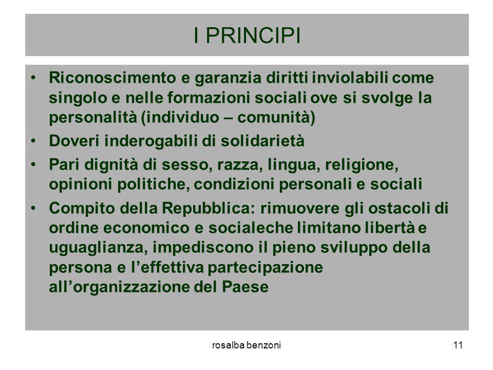 rosalba benzoni11 I PRINCIPI Riconoscimento e garanzia diritti inviolabili come singolo e nelle formazioni sociali ove si svolge la personalità (indiv