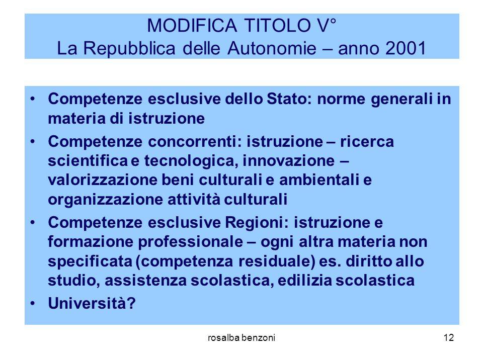 rosalba benzoni12 MODIFICA TITOLO V° La Repubblica delle Autonomie – anno 2001 Competenze esclusive dello Stato: norme generali in materia di istruzio