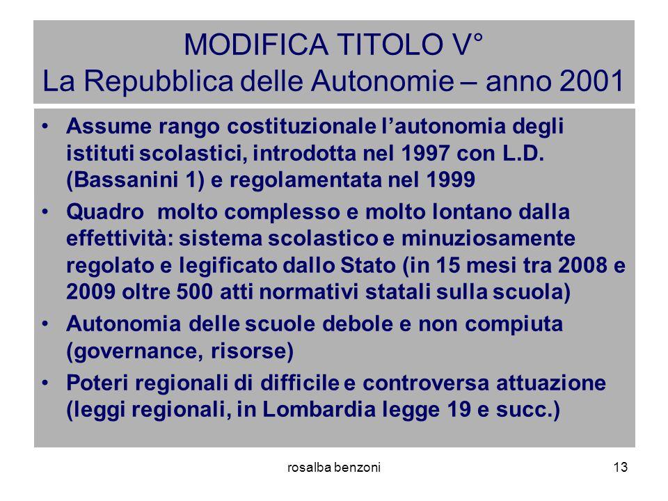 rosalba benzoni13 MODIFICA TITOLO V° La Repubblica delle Autonomie – anno 2001 Assume rango costituzionale l'autonomia degli istituti scolastici, introdotta nel 1997 con L.D.