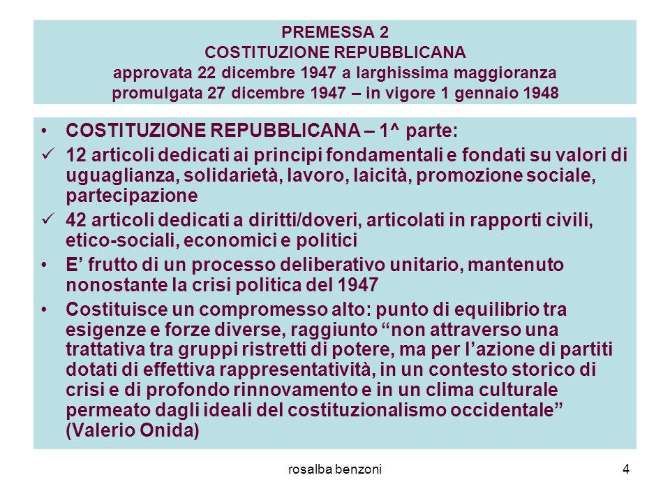 rosalba benzoni4 PREMESSA 2 COSTITUZIONE REPUBBLICANA approvata 22 dicembre 1947 a larghissima maggioranza promulgata 27 dicembre 1947 – in vigore 1 g