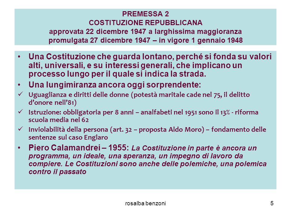 rosalba benzoni5 PREMESSA 2 COSTITUZIONE REPUBBLICANA approvata 22 dicembre 1947 a larghissima maggioranza promulgata 27 dicembre 1947 – in vigore 1 g