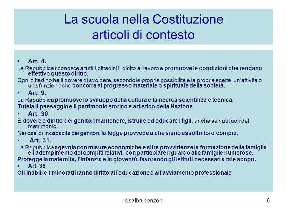 rosalba benzoni6 La scuola nella Costituzione articoli di contesto Art. 4. La Repubblica riconosce a tutti i cittadini il diritto al lavoro e promuove
