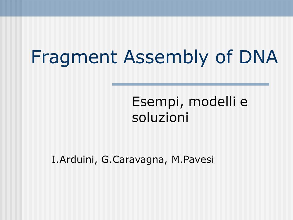 Fragment Assembly of DNA Esempi, modelli e soluzioni I.Arduini, G.Caravagna, M.Pavesi