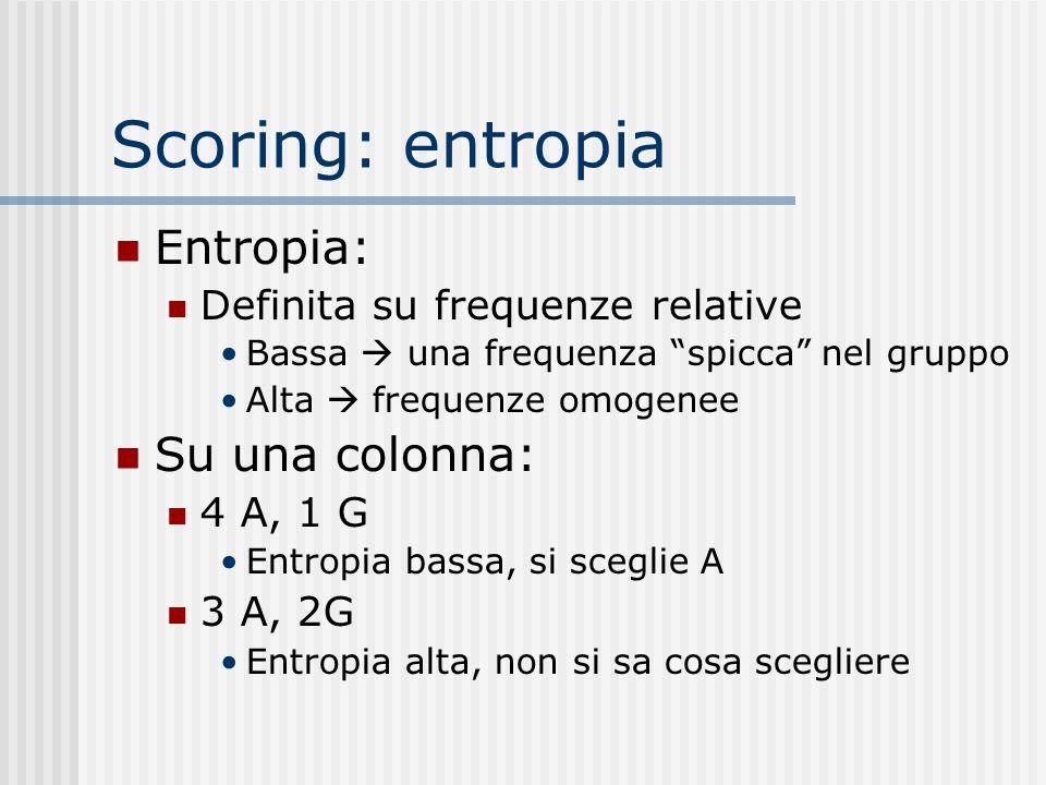 "Scoring: entropia Entropia: Definita su frequenze relative Bassa  una frequenza ""spicca"" nel gruppo Alta  frequenze omogenee Su una colonna: 4 A, 1"