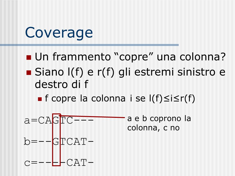 Coverage Un frammento copre una colonna.