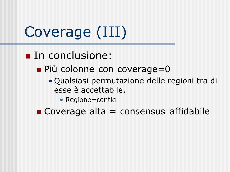 Coverage (III) In conclusione: Più colonne con coverage=0 Qualsiasi permutazione delle regioni tra di esse è accettabile. Regione=contig Coverage alta
