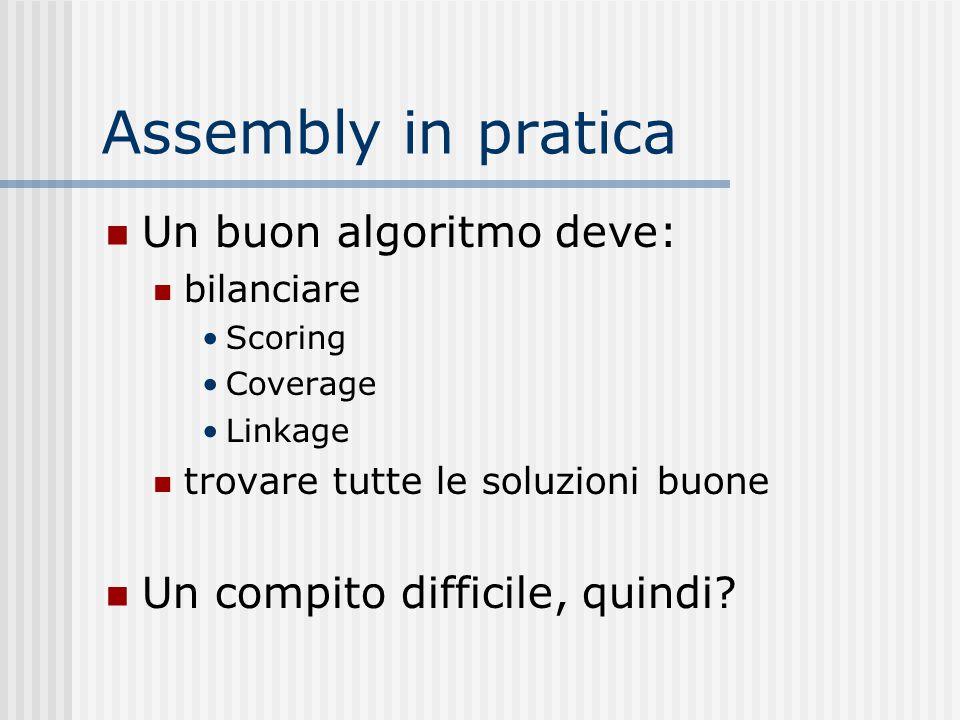 Assembly in pratica Un buon algoritmo deve: bilanciare Scoring Coverage Linkage trovare tutte le soluzioni buone Un compito difficile, quindi?
