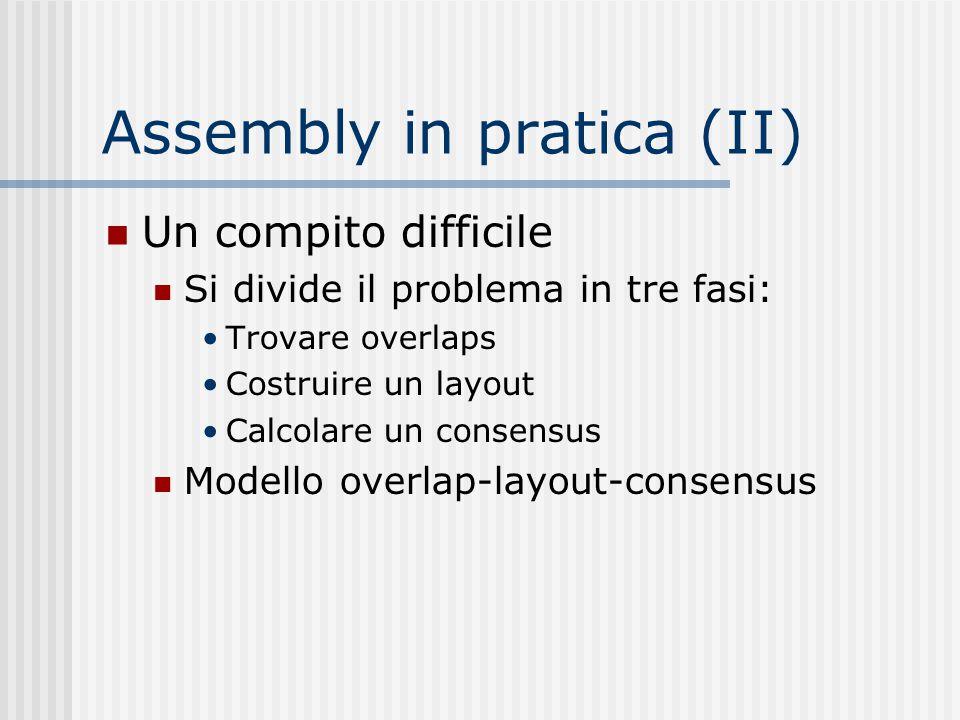 Assembly in pratica (II) Un compito difficile Si divide il problema in tre fasi: Trovare overlaps Costruire un layout Calcolare un consensus Modello o