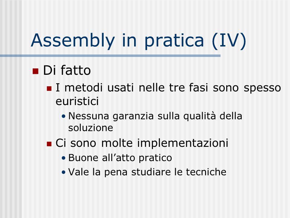 Assembly in pratica (IV) Di fatto I metodi usati nelle tre fasi sono spesso euristici Nessuna garanzia sulla qualità della soluzione Ci sono molte imp