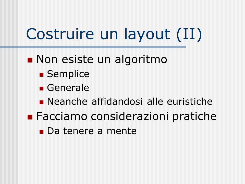 Costruire un layout (II) Non esiste un algoritmo Semplice Generale Neanche affidandosi alle euristiche Facciamo considerazioni pratiche Da tenere a me