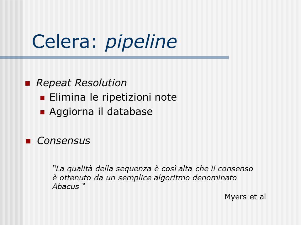 """Celera: pipeline Repeat Resolution Elimina le ripetizioni note Aggiorna il database Consensus """"La qualità della sequenza è così alta che il consenso è"""