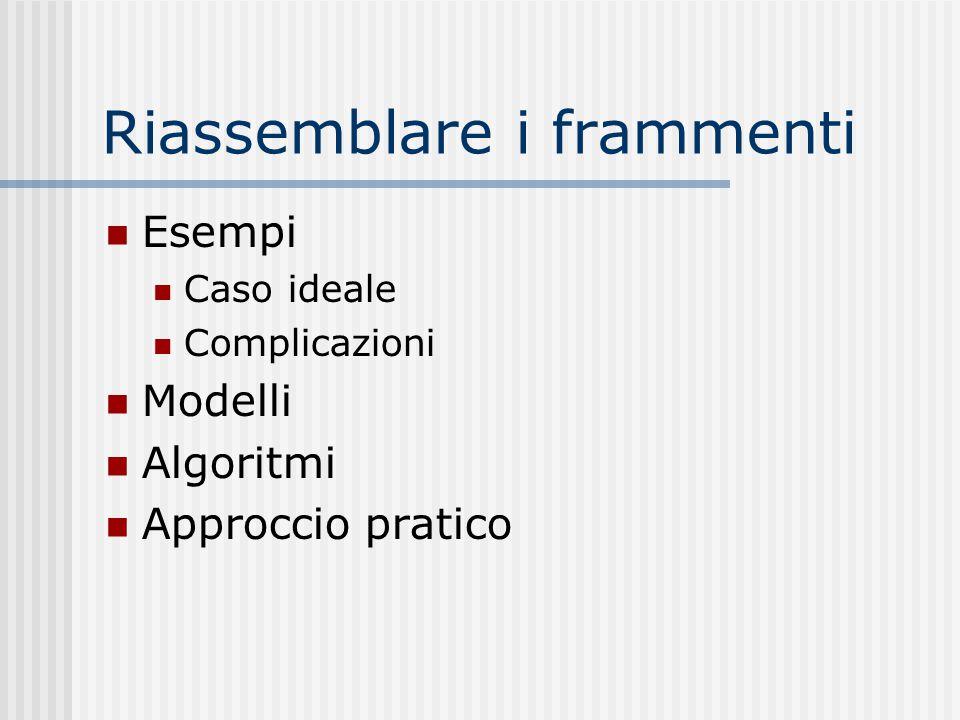 Esempi Caso ideale Complicazioni Modelli Algoritmi Approccio pratico