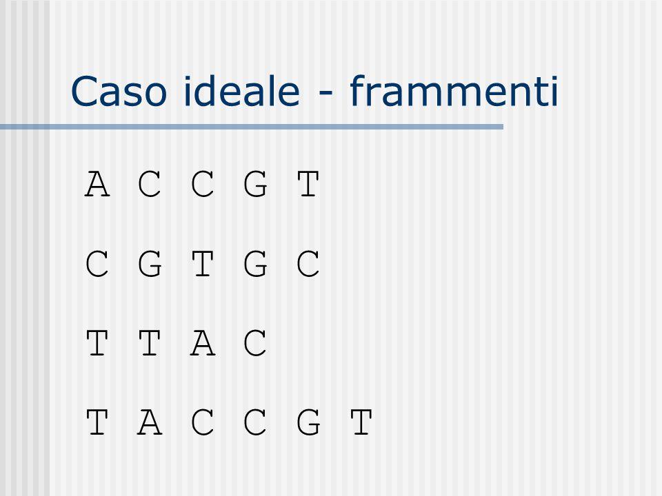 Caso ideale - frammenti A C C G T C G T G C T T A C T A C C G T
