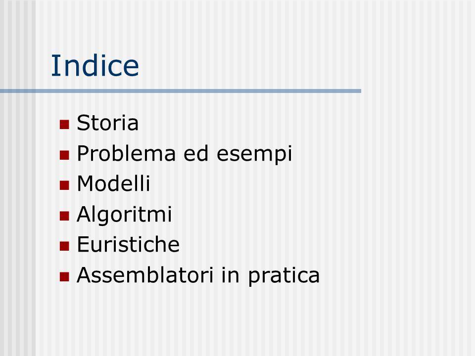 Indice Storia Problema ed esempi Modelli Algoritmi Euristiche Assemblatori in pratica