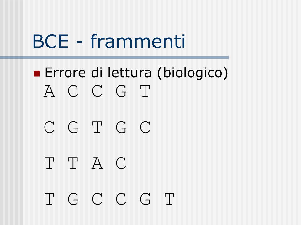 BCE - frammenti Errore di lettura (biologico) A C C G T C G T G C T T A C T G C C G T