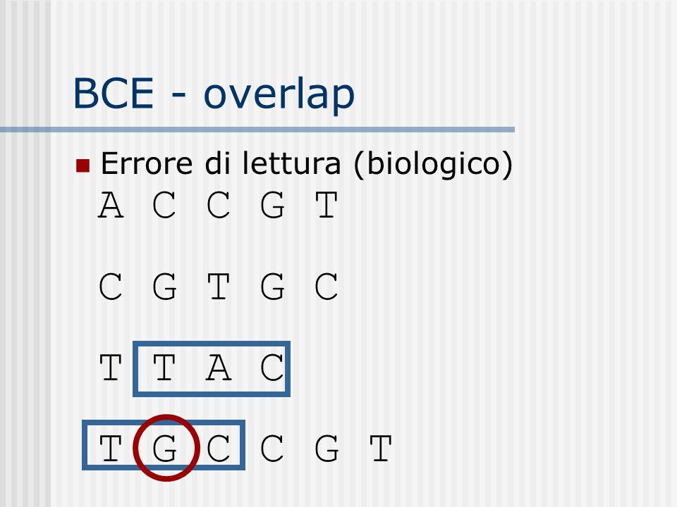 BCE - overlap Errore di lettura (biologico) A C C G T C G T G C T T A C T G C C G T