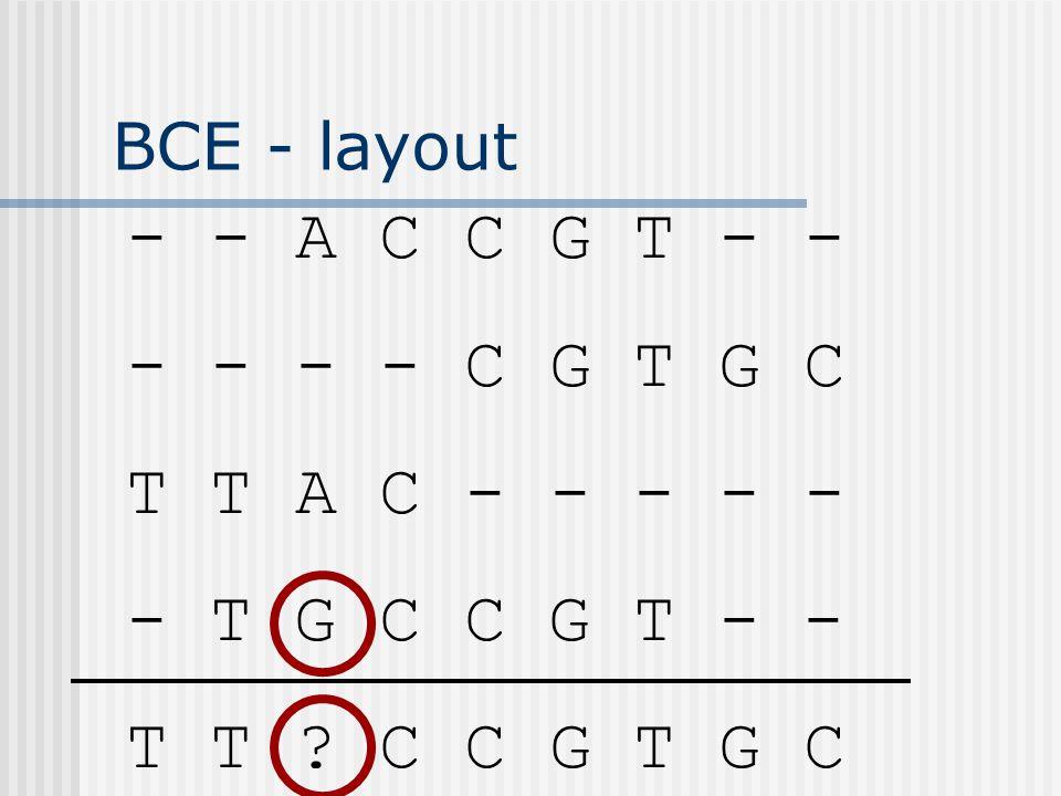 BCE - layout - - A C C G T - - - - - - C G T G C T T A C - - - - - - T G C C G T - - T T ? C C G T G C